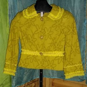 Cynthia Steffen chartreuse jacket size 6 Small